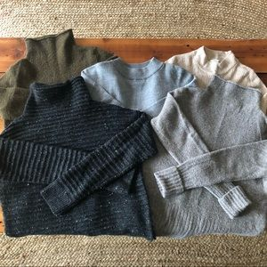 Bundle of 5 Madewell mock neck sweaters
